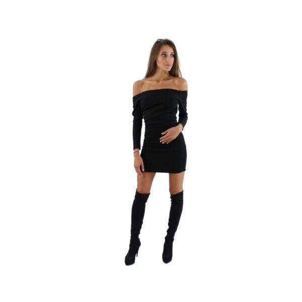 nunu czarna przylegająca sukienka z odkrytymi ramionami i długim rękawem