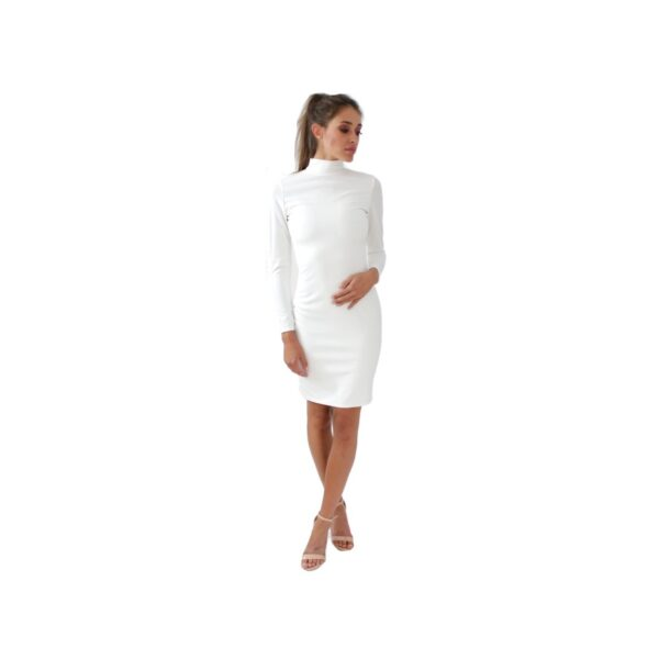 nunu biała ołówkowa sukienka z golfem i długim rękawem