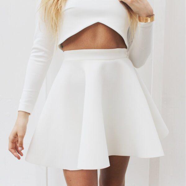 nunu rozkloszowana spódnica z koła biała
