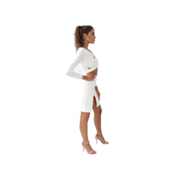 nunu biała spódnica z wysokim wycięciem