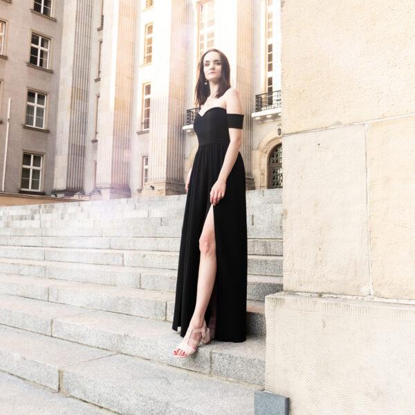 Czarna hiszpanka maxi - Sukienki nunu